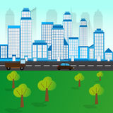 City Landscape With Trees Royalty Free Stock Photography
