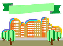 City landscape with trees in the style of flat is on a white bac. Kground. A simple illustration of a beautiful fashion with green ribbon for the header Stock Photos