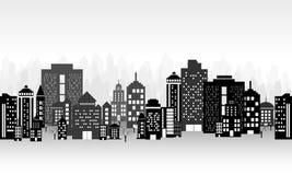 City landscape. A vector illustration of a night time city skyline Royalty Free Stock Image
