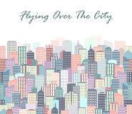City landscape vector illustration. Urban skyline. Background with buildings in flat style. Stock Photos