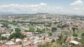 City landscape. View of the city of Tbilisi from a height - Georgia.  stock footage