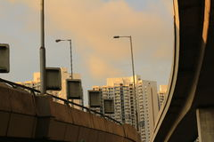 City landscape view under the fly over Stock Photography