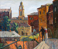 The city landscape of Vitebsk. Drawn with oil on a canvas Stock Photos