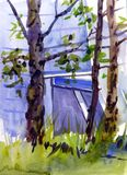 City Landscape. Watercolor sketch. Trees in the city Park.  royalty free stock photo