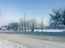 City landscape in winter frost Royalty Free Stock Photography