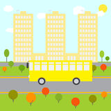 City landscape with yellow bus Royalty Free Stock Image