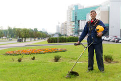 City landscaper. Gardener with gas trimmer on green grass stock image