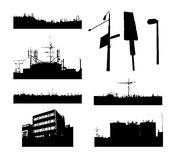 City landscapes. Set of urban city landscapes silhouette Vector Illustration