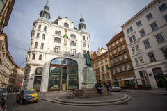 City lanscape with Johannes Gutenberg memorial. Vienna, Austria Stock Images