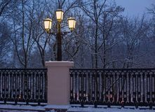 City lantern in winter night Stock Photos