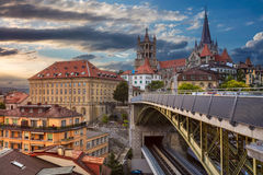 City of Lausanne. Cityscape image of downtown Lausanne, Switzerland during sunset stock photo