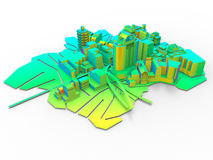 City layout bright colors illustration. 3D rendered illustration of a city layout colored in bright / vibrant colors. The object is  on a white background with Royalty Free Stock Photo