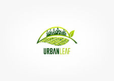 City leaf logo, green garden symbol, park icon and ecology concept design. Isolated  in grey background Royalty Free Stock Image