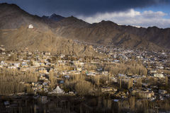 The city of Leh, Capital of Ladakh located in the North India. Viewed from Leh Palace Royalty Free Stock Photo