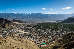 Leh city and beautiful Mountain, Leh Ladakh, India. The city of Leh, Leh city is located in the Indian Himalayas at an altitude of 3500 meters. viewed from tsemo Stock Photos
