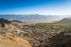 Leh city and beautiful Mountain, Leh Ladakh, India. The city of Leh, Leh city is located in the Indian Himalayas at an altitude of 3500 meters. viewed from tsemo Royalty Free Stock Photos