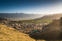 Leh city and beautiful Mountain, Leh Ladakh, India. The city of Leh, Leh city is located in the Indian Himalayas at an altitude of 3500 meters. viewed from tsemo Royalty Free Stock Photo