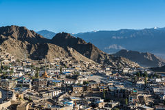 Leh city and beautiful Mountain, Leh Ladakh, India. The city of Leh, Leh city is located in the Indian Himalayas at an altitude of 3500 meters. viewed from tsemo Royalty Free Stock Photography