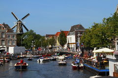 City of Leiden. View of the main canal of the city of leiden in the netherlands Stock Images