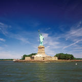 city liberty newyork statue sunset Royaltyfri Bild