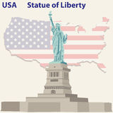 city liberty newyork statue sunset royaltyfri illustrationer