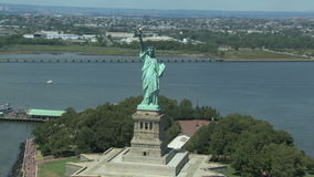 city liberty newyork statue sunset stock video