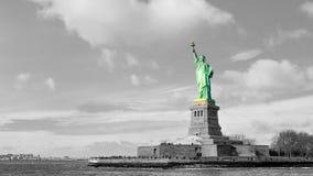 city liberty newyork statue sunset royaltyfria foton
