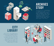 City Library Archives 2 Isometric Banners. City university studies library documents archives and catalog information 2 horizontal isometric banners abstract vector illustration