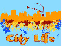 City life. Grunge city skyline with floral elements Royalty Free Stock Images
