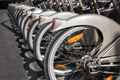 City Life. Bicycles for rent in a row Stock Photo