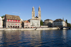 City life along the Zürich Lake. This is a photo of a glimpse at the Zürich Lake, where tourists and locals flood the streets on a daily basis Stock Photo