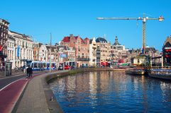 City life in Amsterdam city center Royalty Free Stock Image