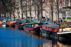 City life in Amsterdam city center Royalty Free Stock Photo