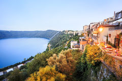 City life in Castel Gandolfo, pope's summer residency, Italy. Albano Lake shore and city of Castel Gandolfo, Lazio, Italy Stock Photos