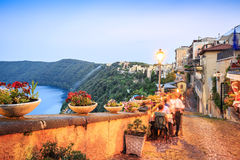 City life in Castel Gandolfo, pope's summer residency, Italy. Albano Lake shore and city of Castel Gandolfo, Lazio, Italy Stock Images