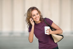 City life and coffee. Royalty Free Stock Image