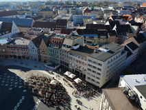 City life historic Augsburg at fall aerial view Stock Photography