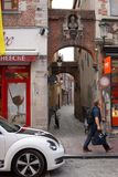 City life flows past the lane in the old town royalty free stock image
