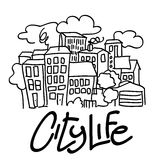 City Life -  illustration. Vector drawing, illustration of stylized city Royalty Free Stock Images