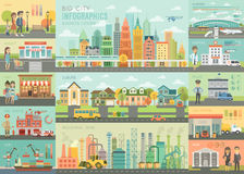 City life Infographic set with charts and other elements. Vector illustration Vector Illustration