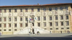 City life in the Knight`s square of Pisa stock video footage