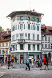 City life of Ljubljana in Slovenia. Historic building and people Royalty Free Stock Image