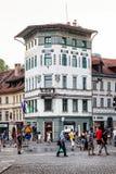 City life of Ljubljana in Slovenia. Historic building and people. City life of Ljubljana in Slovenia. Cross between Wolfova Ulica and Presernov Trg. Old historic Royalty Free Stock Image