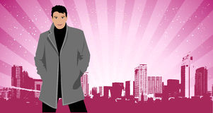 City life, man in suit on the street. Vector illustration Stock Photo