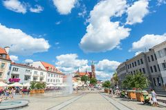 City life at the market square in Bialystok, Poland. BIALYSTOK, POLAND - JULY 21: City life at the market square on July 21, 2014 in Bialystok, Poland. Bialystok royalty free stock photos