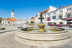 City life at the market square in Bialystok, Poland Royalty Free Stock Images