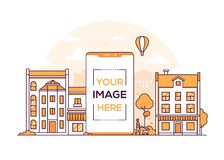 City life - modern thin line design style vector illustration. On white background. Orange colored composition with buildings, shops, cafes. A smartphone with royalty free illustration