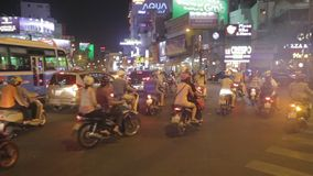 City life on the motorbikes, Vietnam stock video