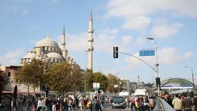 Daily city life and New Mosque in Fatih, Istanbul stock video footage