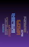 City life in the night. Night city with lights - vector illustration Royalty Free Stock Photo
